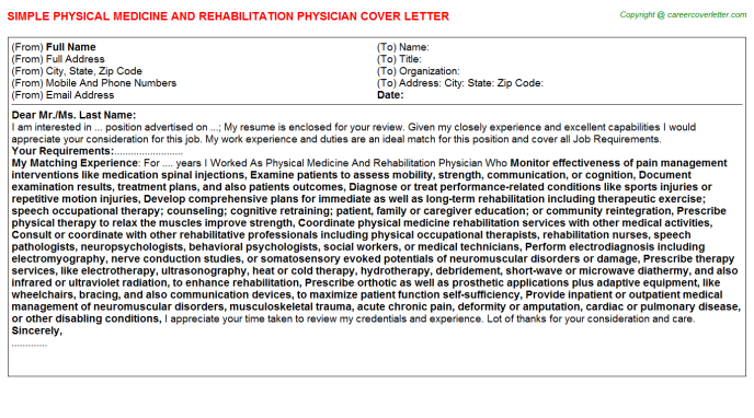 physical-medicine-and-rehabilitation-physician-cover-letter Disability Letter Template For Patients on practice discharge, complaint response, doctor appointment,