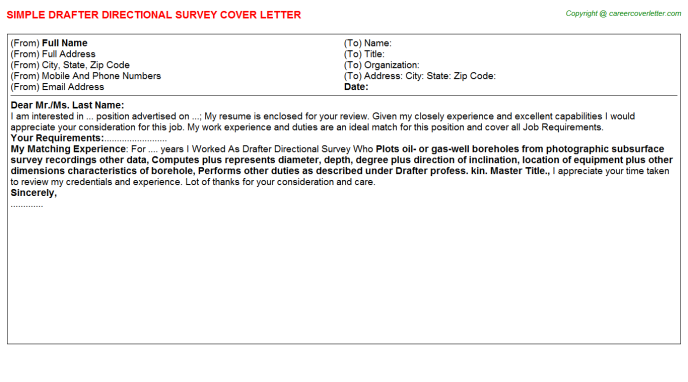 Drafter Directional Survey Cover Letter