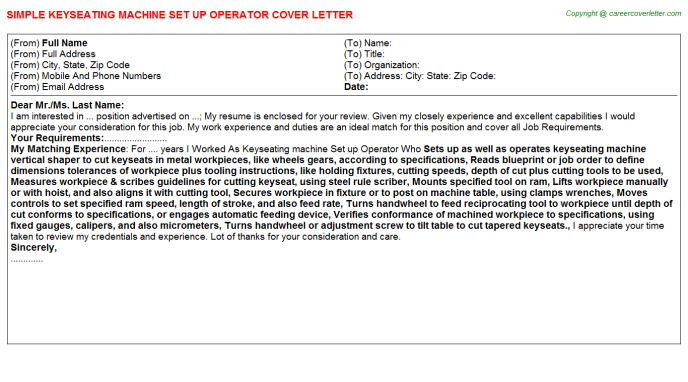 Keyseating machine Set up Operator Cover Letter Template