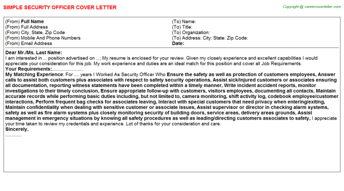 Security Officer Cover Letter Template