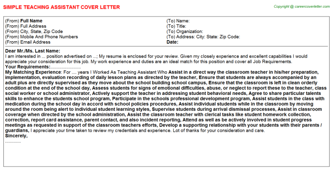 Teaching Assistant Cover Letter Template