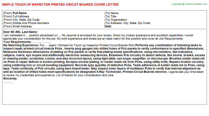 Touch up Inspector Printed Circuit Boards Cover Letter Template