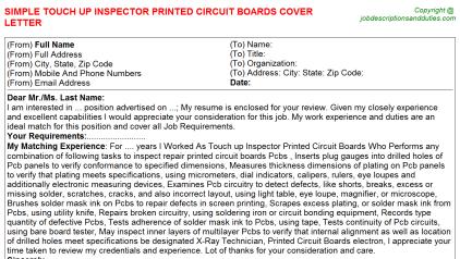 Touch up Inspector Printed Circuit Boards Job Cover Letter Template