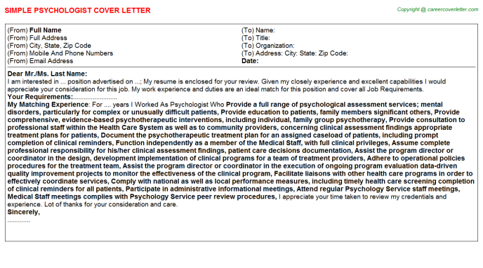 Psychologist Job Cover Letter Template