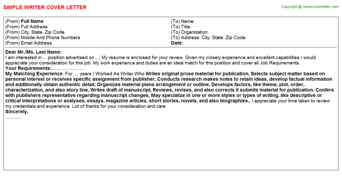 Writer Cover Letter Template