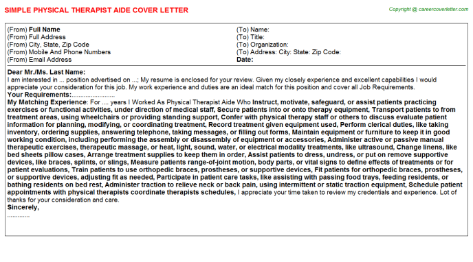 Physical Therapist Aide Job Cover Letter Template