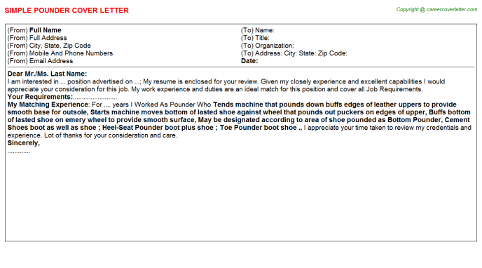 Pounder Job Cover Letter Template