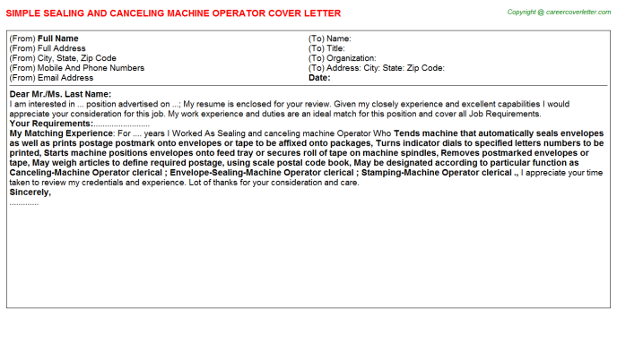 Sealing and canceling machine Operator Job Cover Letter Template