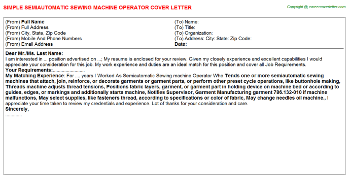 Semiautomatic Sewing Machine Operator Job Cover Letter Template