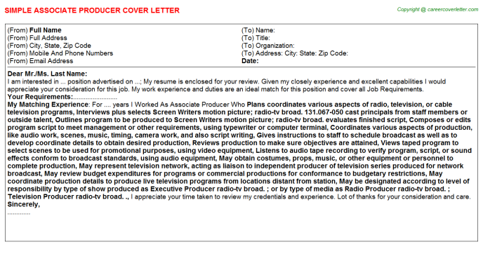 Associate Producer Cover Letter Template