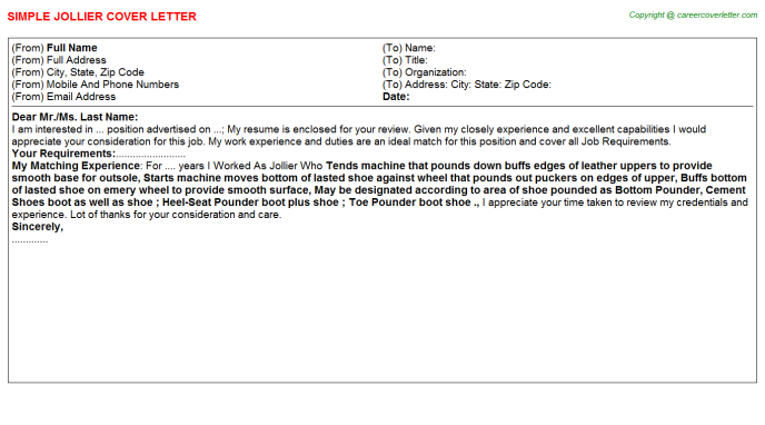 Jollier Cover Letter Template