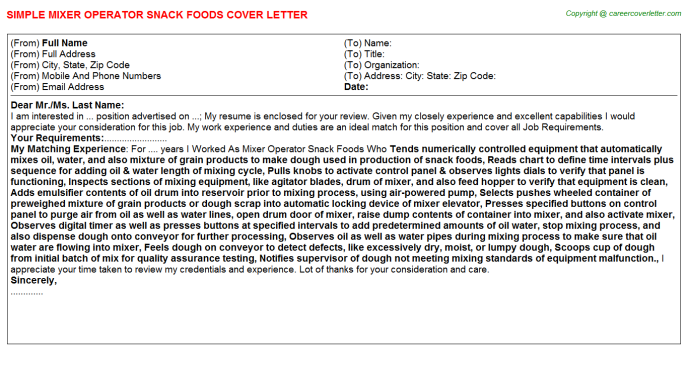 mixer operator snack foods cover letter template
