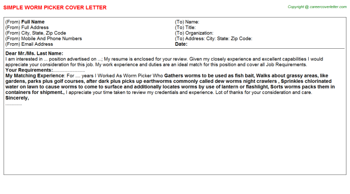 Worm Picker Cover Letter Template