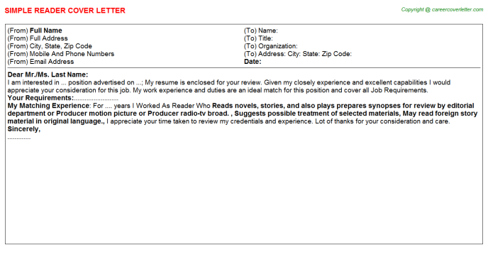 Reader Cover Letter Template