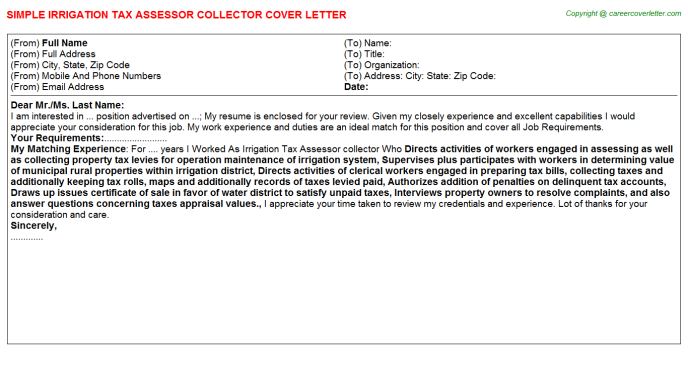 Irrigation Tax Assessor collector Cover Letter Template