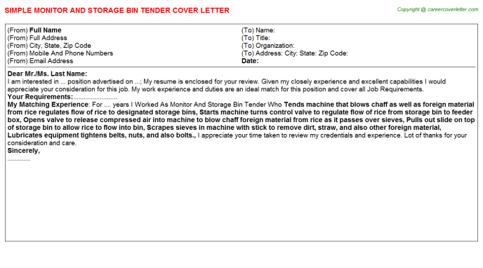 monitor and storage bin tender cover letter template