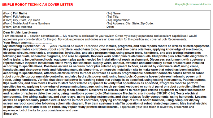 Robot Technician Cover Letters