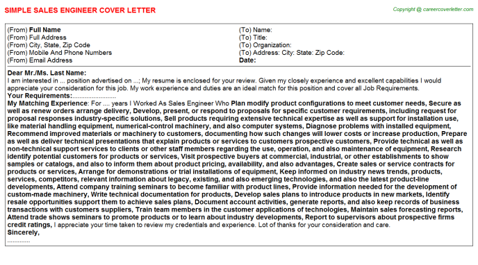 Sales Engineer Cover Letter Template