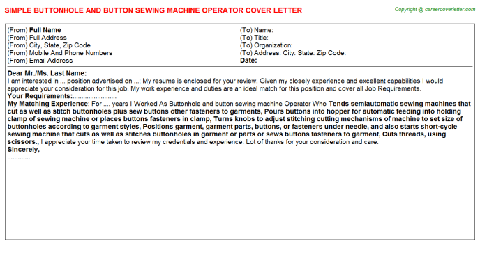 Buttonhole and button sewing machine Operator Cover Letter Template
