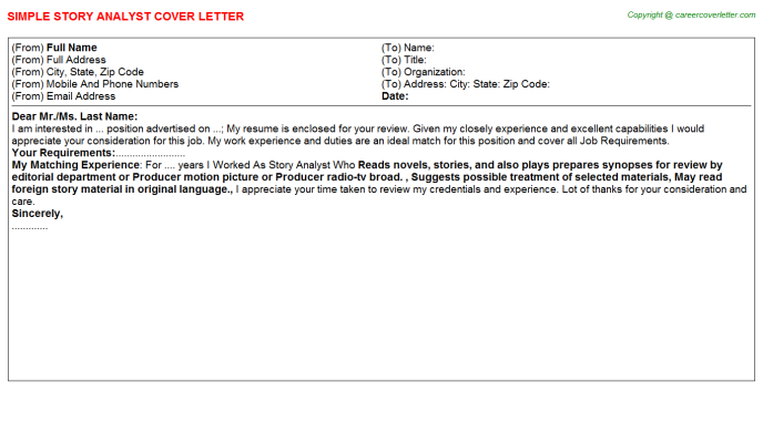 story analyst cover letter template