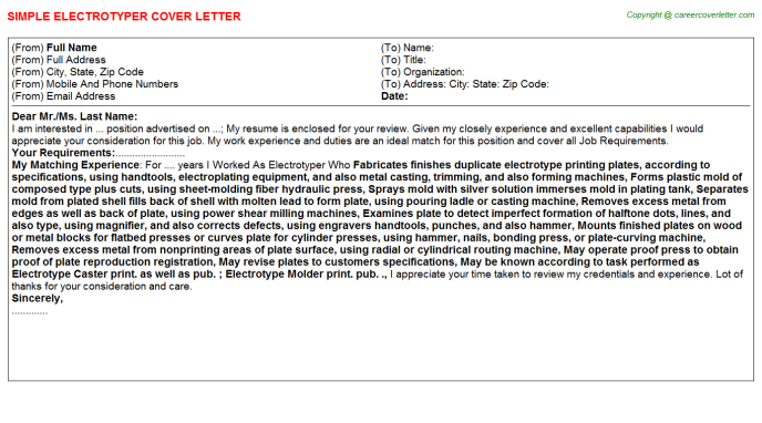 Electrotyper Job Cover Letter Template