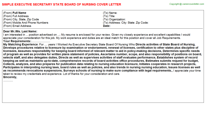 executive secretary state board of nursing cover letter template