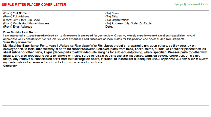 Fitter Placer Job Cover Letter Template