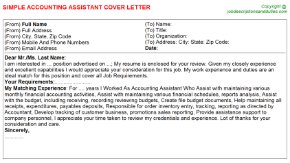 Accounting Assistant Job Cover Letter Template