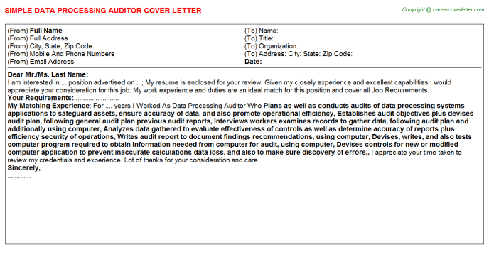 data processing auditor cover letter template
