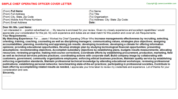 chief operating officer job cover letter sample
