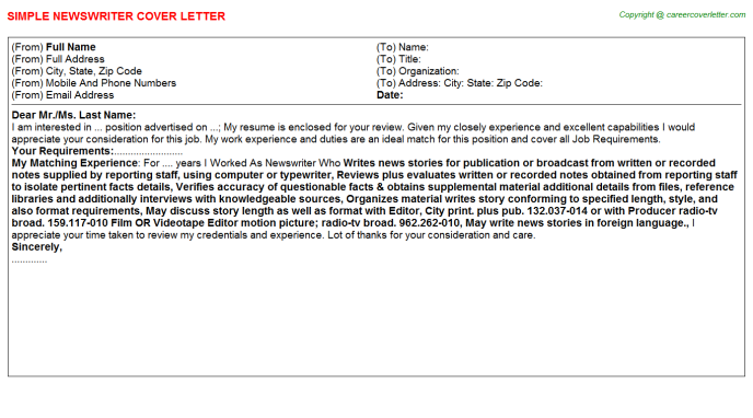 Newswriter Cover Letter Template