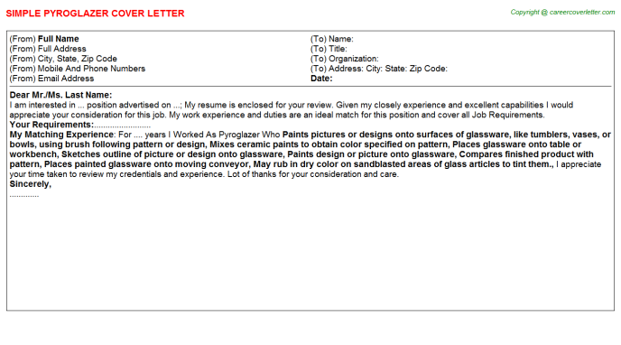 Pyroglazer Job Cover Letter Template