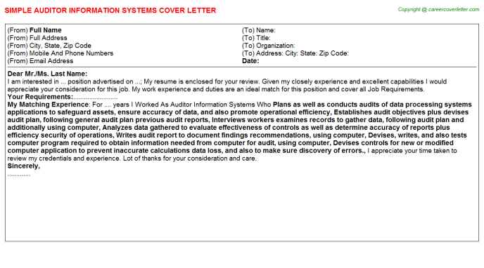 auditor information systems cover letter template