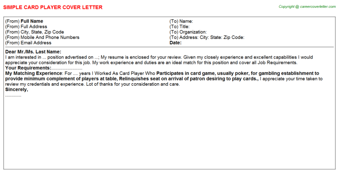 card player cover letter template