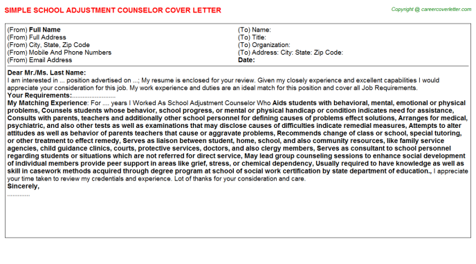 School Adjustment Counselor Job Cover Letter