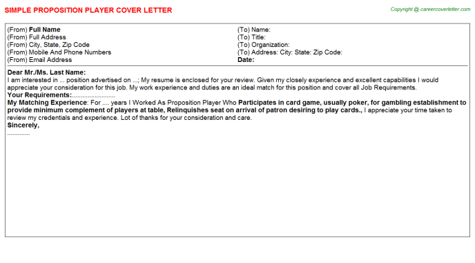 proposition player cover letter template