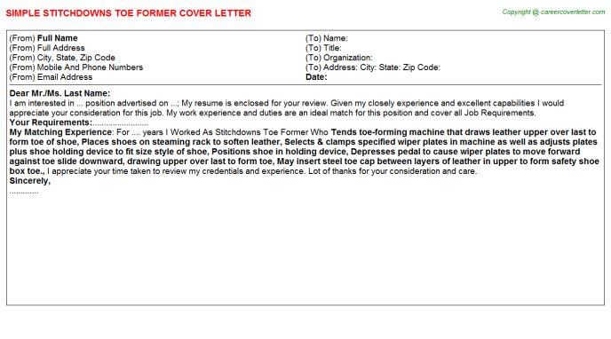 Stitchdowns Toe Former Cover Letter Template