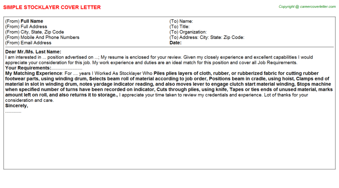 Stocklayer Cover Letter Template