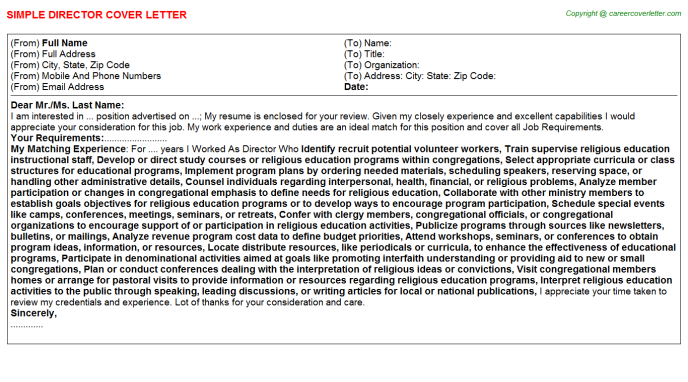Director Job Cover Letter Template