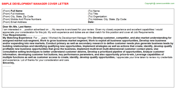 Development Manager Cover Letter Template