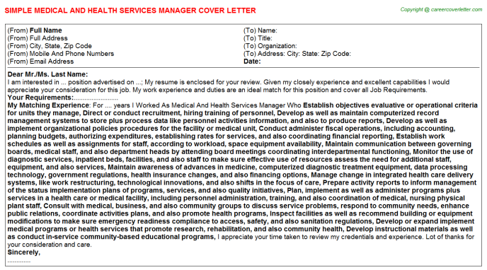 Medical And Health Services Manager Cover Letter Template
