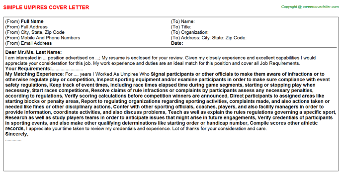 Umpires Job Cover Letter Template