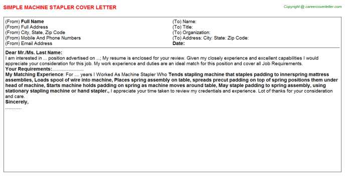 Machine Stapler Cover Letter Template