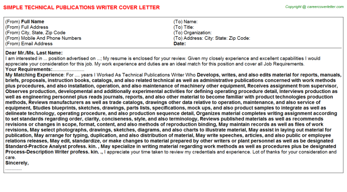 Technical Publications Writer Cover Letter Template