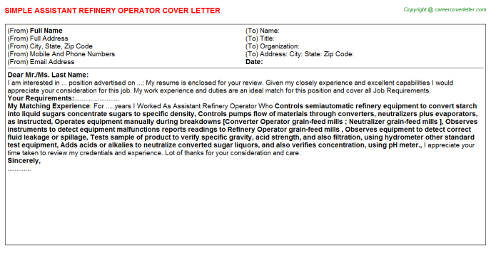 assistant refinery operator cover letter template