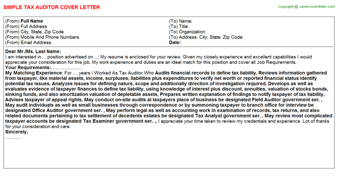 Tax Auditor Job Cover Letter Template
