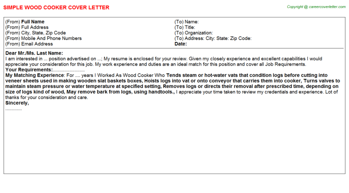 Wood Cooker Job Cover Letter Template