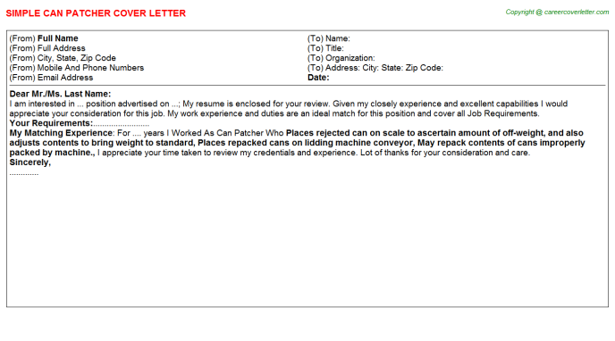 Can Patcher Cover Letter Template