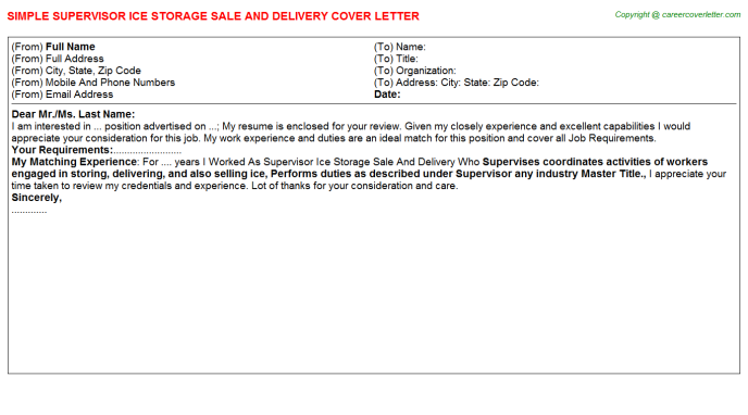 Supervisor Ice Storage Sale And Delivery Job Cover Letter Template