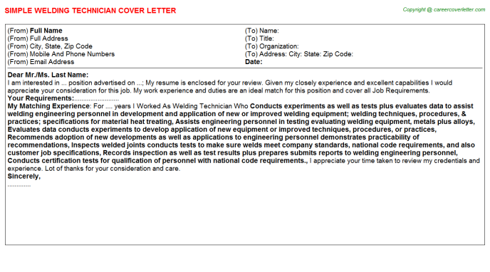 Welding Technician Job Cover Letter